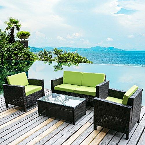 Merax. 4 PC Outdoor Rattan Patio Furniture Set PE Rattan Wicker Sofa Set Garden Lawn Sofa with Cushions (Green)
