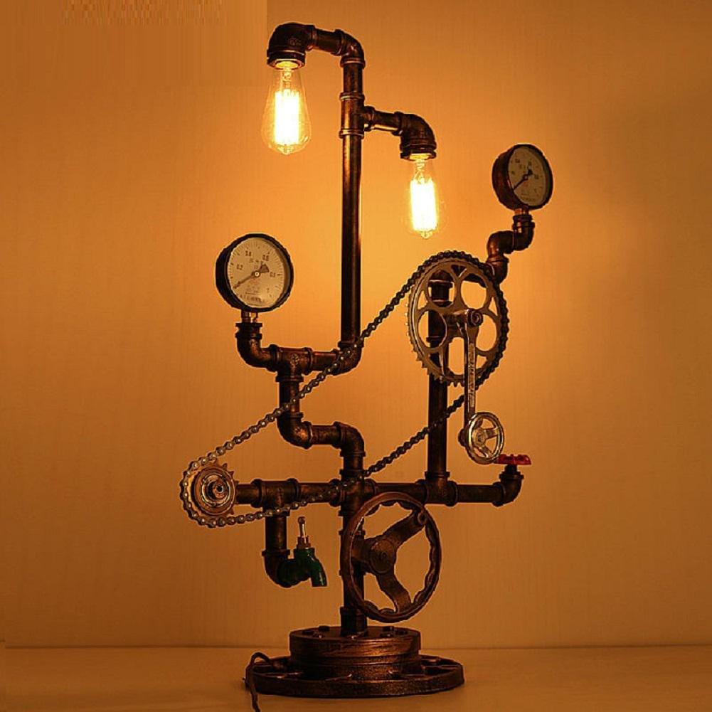 HAILONGWANG Eisen-Lampe amerikanischen Retro-Stil Restaurant und Bar Industrie Sanitär-Rohre Achse Kette Kunst Lampe