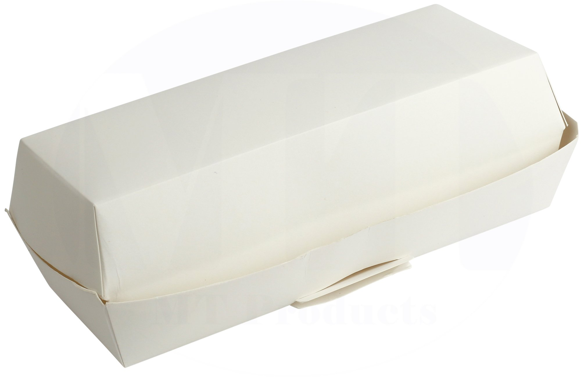 Disposable White Hinged Paper Hot Dog Tray/Clamshell Container by MT Products - (25 Pieces)