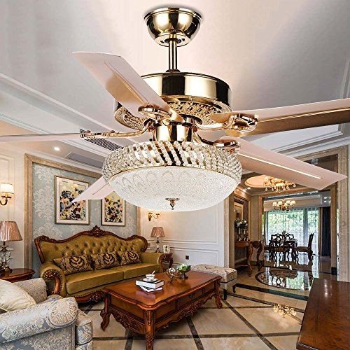 Tropicalfan Metal Silent Ceiling Fan With Remote 1 Glass Cover Decorative Home Living Room Fans Chandelier 5 Reversible Blade Rose Gold 52 inch (LED (Gold Finish Ceiling Fans)