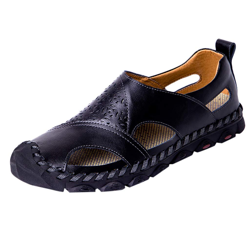 KawaiineMens Outdoor Sandals Hiking Camping Sandals Genuine Leather Fisherman Shoes Black