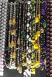 Mardi Gras, Mix of Assorted Styles and Colors Hand strung Beads, 12 Dozen (144pcs).