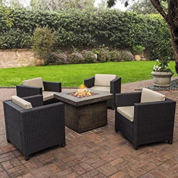 Livingston Outdoor 4 Pc Club Chair Set W/Water Resistant Cushions U0026 Stone  Firepit (