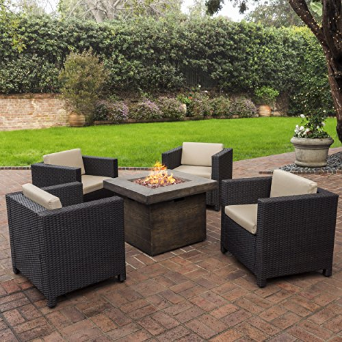 Livingston Outdoor 4 Pc Club Chair Set w/Water Resistant Cushions & Stone Firepit (Brown) (Outdoor Fire Pit Tables With Chairs)
