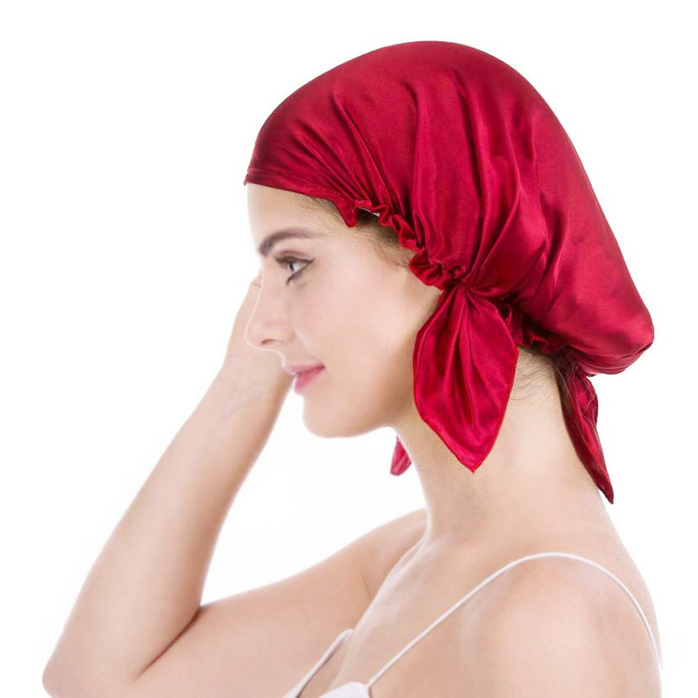 Emmet 100% Mulberry Silk Night Sleep Cap Bonnet for Hair Loss Women Sleeping Hat 19 Momme Soft with Adjustable Elastic Ribbon