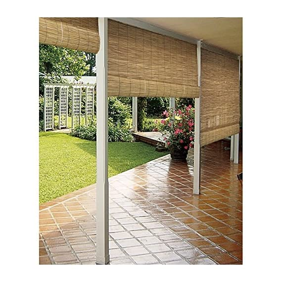 """Radiance 0360486 Natural Woven Reed Light Filtering Roll Up Window Blind, 48-Inch Wide by 72-Inch High - RADIANCE WINDOW CURTAINS: The warm earth tones of the Radiance Polished Reed Interior/Exterior Roll Up Blind blend well with any decor. This shade hangs easily with included simple hook hardware so you can hang and remove them from windows, porches, and patios easily. LIGHT FILTERING: A polished reed brings a sophisticated environmental friendly look to a living space while filtering out the sun's harsh light. It is perfect for adding more privacy and blocking the heat of the sun while still letting light in. AVAILABLE WINDOW COVERING SIZES: There are three different sizes available 48""""W x 72""""L, 72"""" W x 72"""" L and 36"""" W x 72"""" L. - shades-parasols, patio-furniture, patio - 61hhgBvzvXL. SS570  -"""