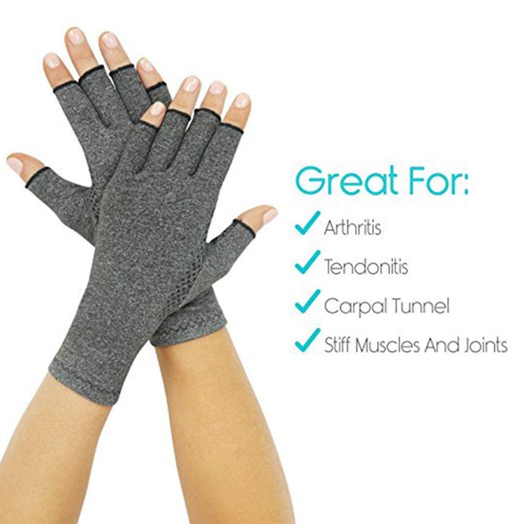 1 Pair Women Men Unisex Hands Arthritis Gloves Fingerless Half Finger Therapeutic Compression Circulation Grip Wrist Length Mittens Pain Relief