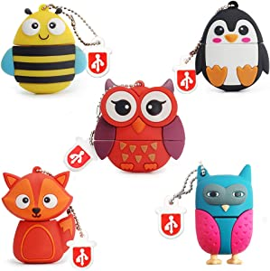 16GB USB Flash Drive Pack of 5 Pcs, BorlterClamp Thumb Drive with Cute Animal Pattern, Gift for Students and Children