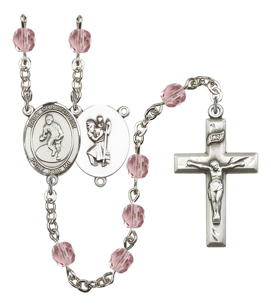 June Birth Month Prayer Bead Rosary with Saint Christopher Wrestling Centerpiece, 19 Inch