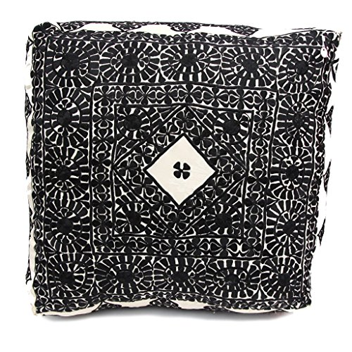 Moroccan Handmade Large Floor Pouf in Black by Atlas Showroom