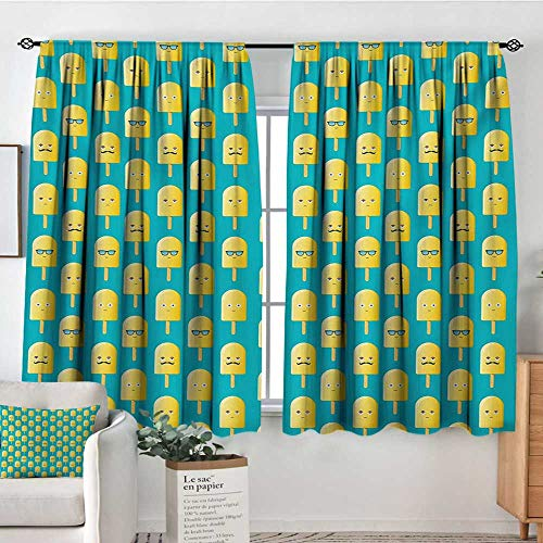 Mozenou Yellow and Blue Window Curtain Drape Lemon Flavor Ice Cream with Face Glasses and Mustache Fun Humor Graphic Decorative Curtains for Living Room 72