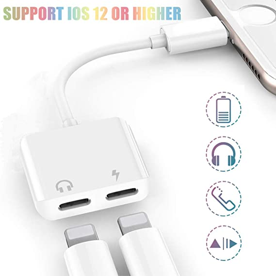 Audio + Charging + Call + Volume Control 2-Pack Compatible with iPhone 11//11pro Max//Xs//Xs Max// 7 8 Plus Dual Jack Aux Audio and Charge Earphone Adapter for iPhone Splitter