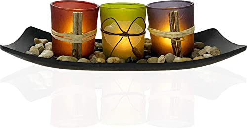 Urban Deco Candle Holders Decorative Candle Tray Set of 3 Decorative Vintage Glass Candles Black Wood Candle Holder Tray and Rocks Candle Scape