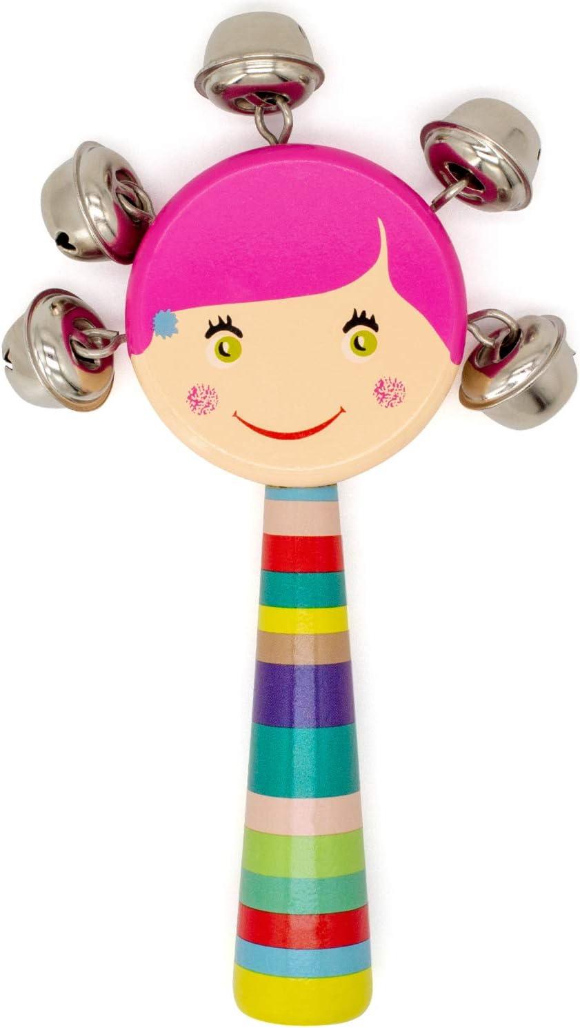 AKORD Kids Wooden Shaker Rattle Girl