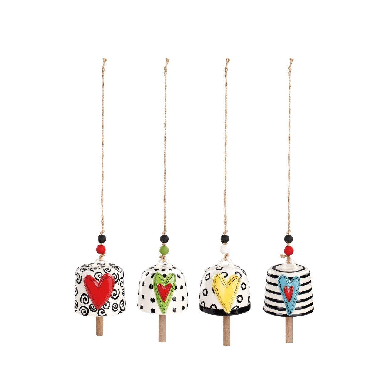 DEMDACO Assorted Heart Multicolored 7 x 4 Ceramic Stoneware Decorative Bells Set of 4