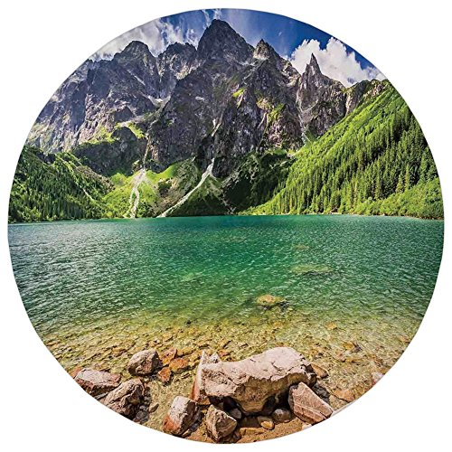 Round Rug Mat Carpet,Mountain,Lake Tatra and Mountains Poland Forest at Sunrise Rocky Shore,Green Turquoise Light Brown,Flannel Microfiber Non-slip Soft Absorbent,for Kitchen Floor (Tatra Sink)