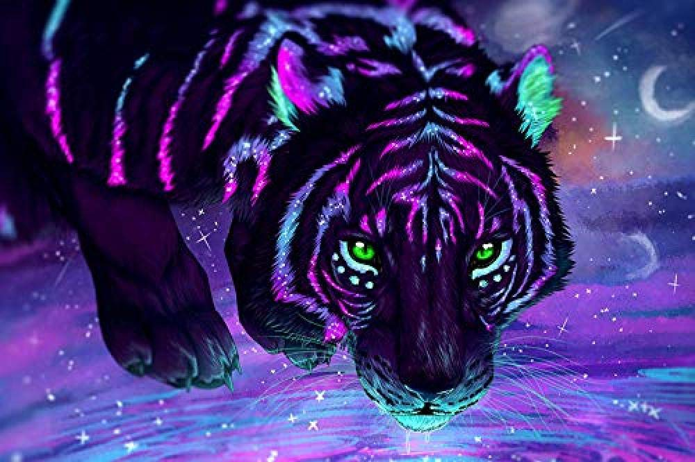 Fluorescent Tiger Puzzle Wooden Color Art Painting Jigsaw Puzzle Toys Adults Teenagers Kids Home Decor Gift-500 Pieces 52X38Cm