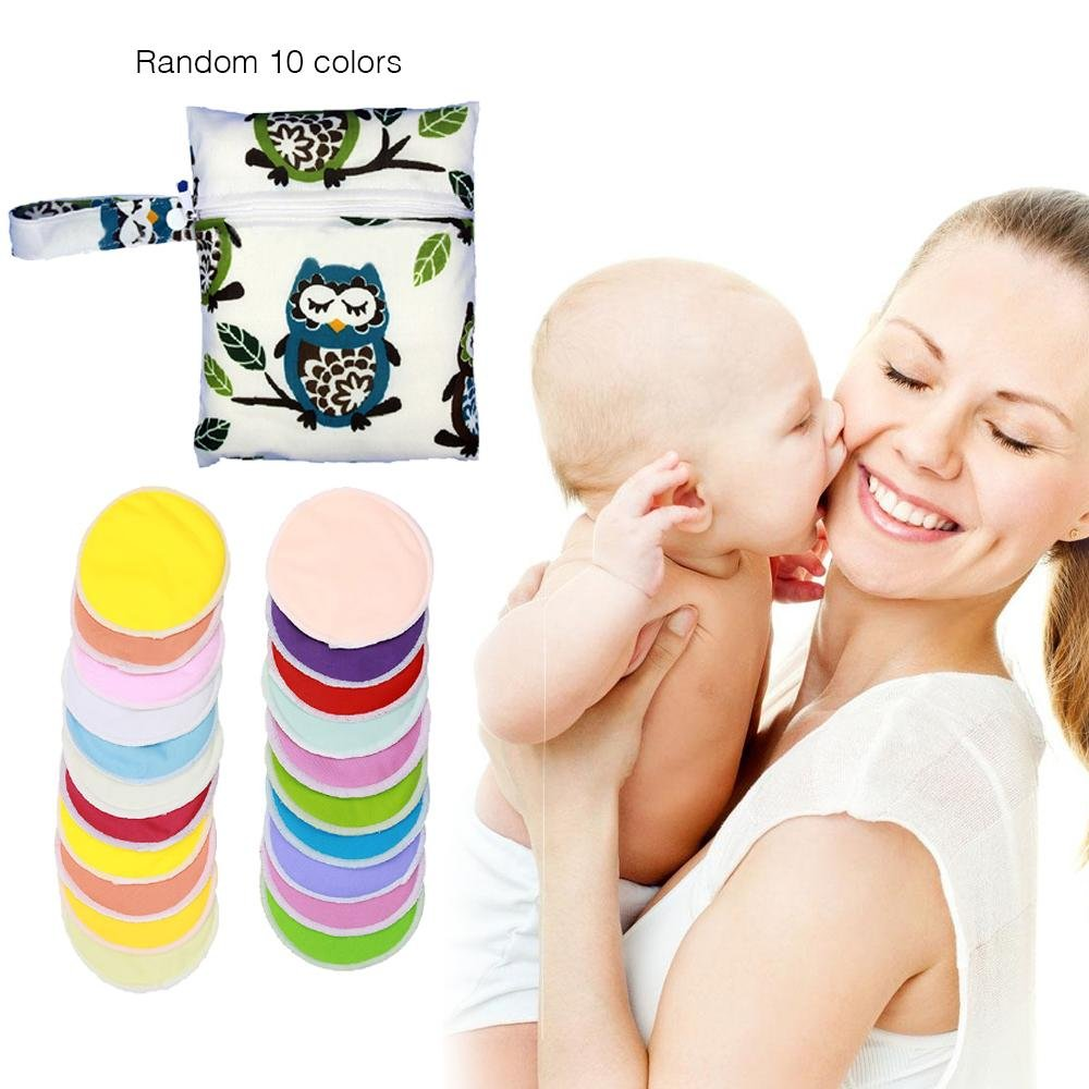 Aolvo 10 Pack Nursing Pad Ultra Soft & Hypoallergenic Bamboo Breastfeeding Pad With Owl Breast Pad Storage Bag, Washable & Reusable Organic Breast Pad