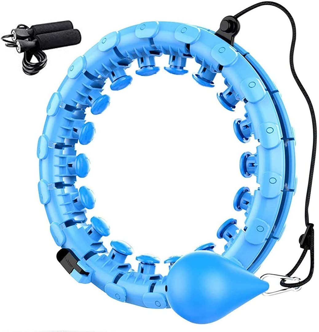 Smart Weighted Hoola Hoop for Adults and Kids,2 in 1 Abdomen Fitness Weight Loss Massage Non-Fall Hoola Hoop,Detachable /& Size Adjustable Smart Hula Hoop with Auto Rotation and 360-degree Massage