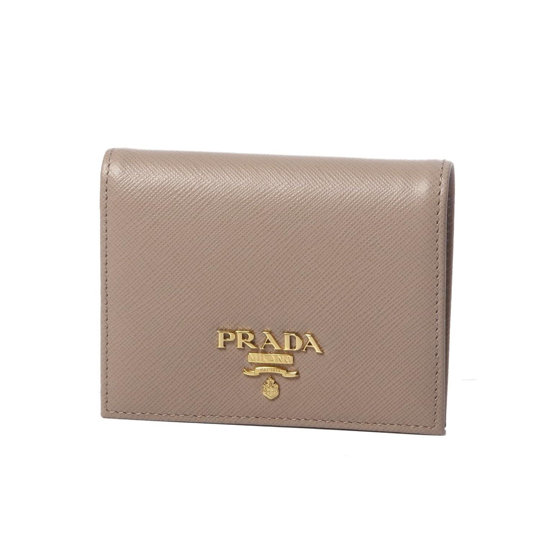 (プラダ) PRADA 二つ折り財布 SAFFIANO METAL ベージュ 1MV204 QWA F0236 [並行輸入品] B07DRC13YF