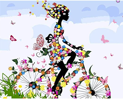 Pintura por Números Kit Andar en bicicleta mariposa Diy Pintura al óleo para Adultos, Niños, Creative Pintura sobre Lienzo Decoración Para el Hogar Dibujo con Pinceles 40X50Cm(Sin Marco): Amazon.es: Hogar
