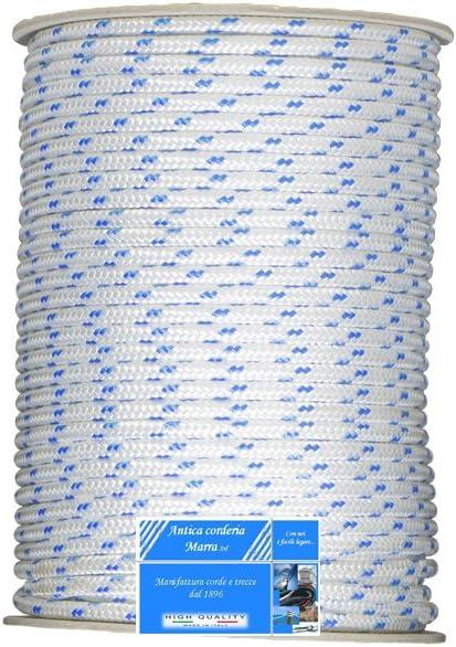 Blanche avec motif bleu /Tresse nautique 12 mm x 30/m Antica Corderia Marra/