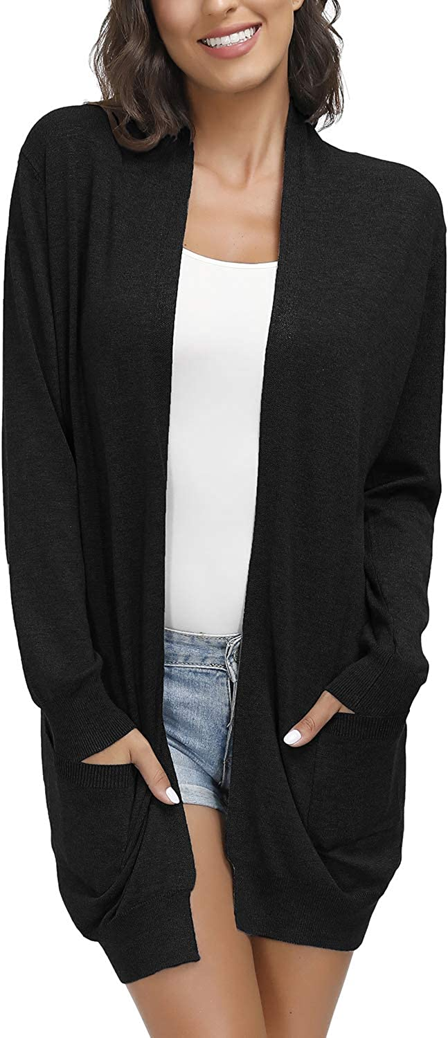 Yidarton Women's Open Front Cardigan Long Sleeve Sweaters Shrugs Color  Block Tops with Pockets at Amazon Women's Clothing store
