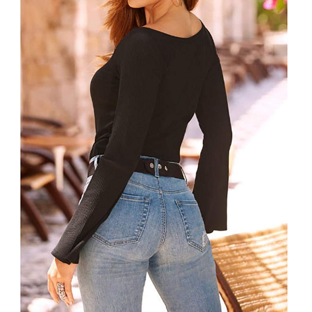Bluse e camicie,Maglie a manica lunga da donna,Top Donna T Shirt Maglietta a maniche lunghe con scollo a bottone manica lunga scollo a V da donna,Yanhoo Felpe con cappuccio da donna