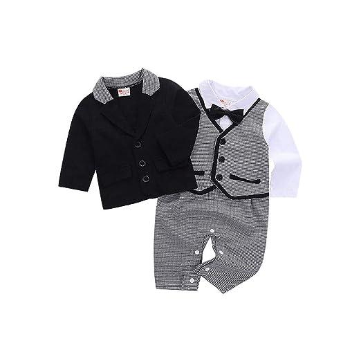 b3e1d464ef4a Amazon.com  5Pcs Toddler Baby Boy Bowtie Gentleman Coat T-Shirt ...