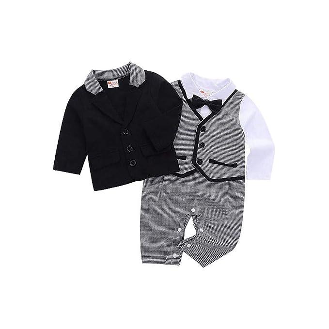 Ropa Bebé niño Bowtie Gentleman Abrigo Camiseta Pantalones Traje Conjuntos de Tela Bebé de impresión Tops Mameluco + Chaleco + Pantalones 3pcs Ropa Conjunto ...