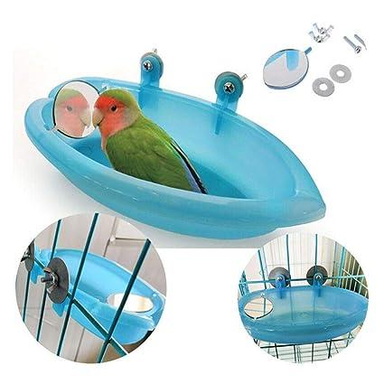 FunMove Jaula de baño para pájaros con Espejo, Juguete para ...