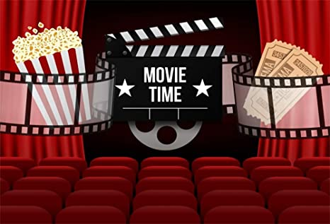 Aofoto 9x6ft Cinema Movie Time Backdrop Film Tickets Movie Theater Red Curtaion Seats Background For Photogrpahy Kids Adutls Happy Birthday Party