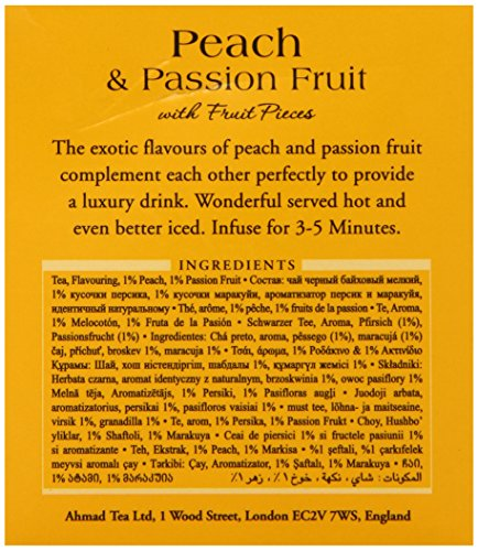 Ahmad Tea Peach & Passion Fruit Black Tea, 20-Count Boxes (Pack of 6) 6 Case of six boxes, each containing 20 foil-wrapped tea bags (120 total tea bags) A blend of Ceylon and other origin teas with peach and passion fruit flavoring Stimulating tea with a resonant, fruity aroma