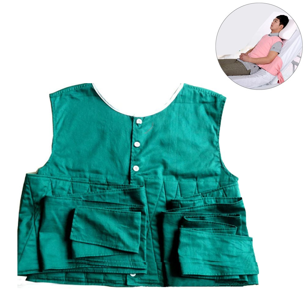 Ibnotuiy Adult Cross Chest Vest Restraint Patients Cares Safety Harness with Bed Or Chair for Patient Use (Green, S)