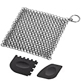 Cast Iron Cleaner with Durable Plastic Pan Grill Scrapers, SENHAI 7 x 7 inch Stainless Steel Chainmail Scrubber for Skillets, Griddles, Pans or Woks and More