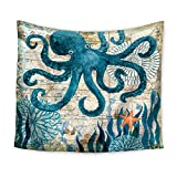 """Ecomic Octopus Tapestry Marine Life Bohemian Tapestry, Mandala Wall Hanging Tapestry Wall Art Decor, Beach Throw, Table Runner/Cloth,51"""" x 60""""Inches (03)"""