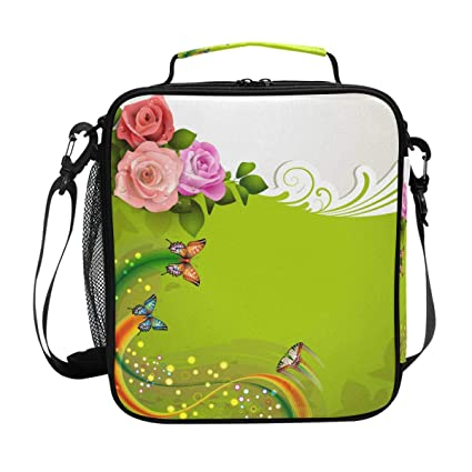 894d699f84ab Amazon.com: Butterfly Colors Strip Flowers Lunch Bag with Zip ...