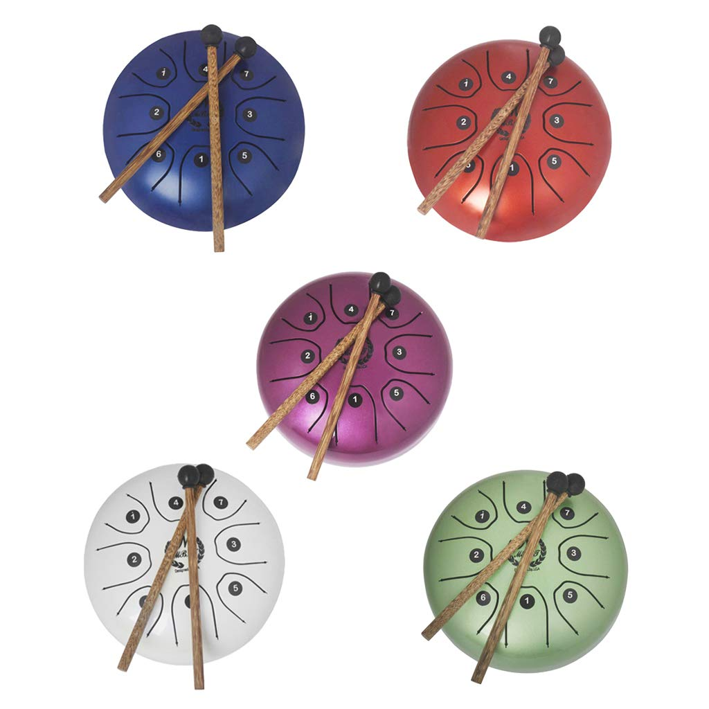 kesoto 5.5 Inch 8 Tones Steel Tongue Drum Tank Drum Small Hand Percussion with Sticks Bag for Camping, Yoga, Meditation, Party - White, as described by kesoto (Image #7)