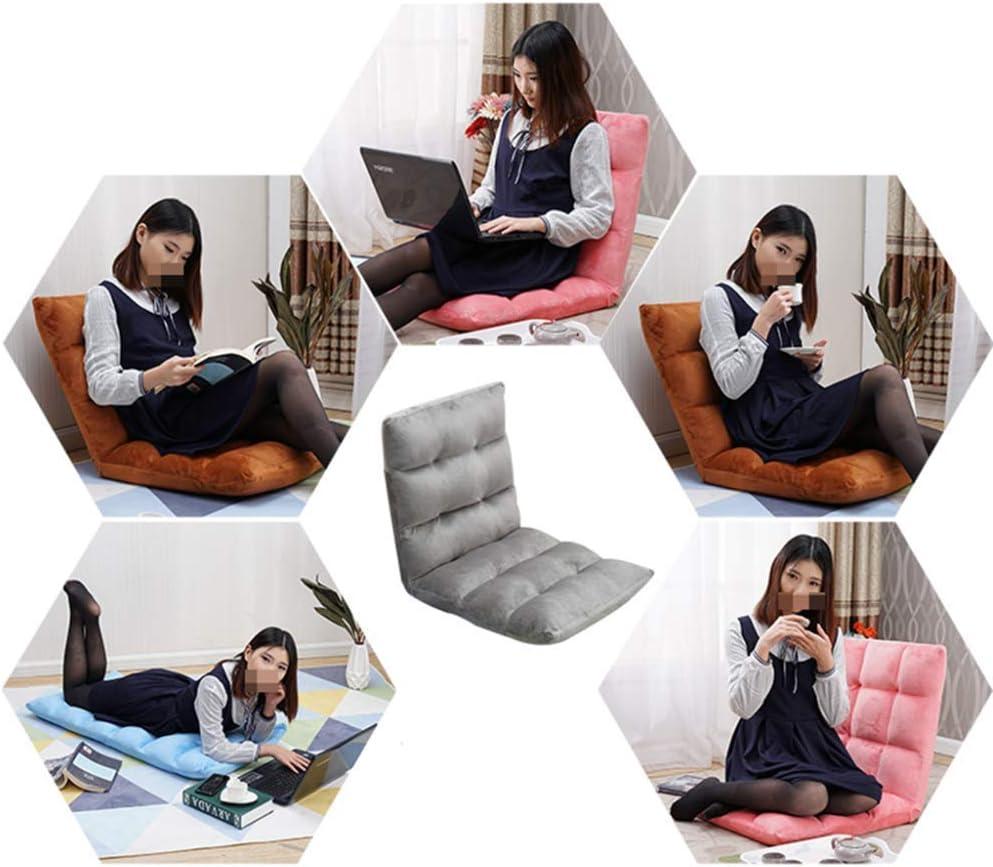 Silla de Piso Asiento para Juegos Silla de Piso, Plegable Ajustable Lazy Sofa Pad Cama Individual Asiento de Ventana para Dormitorio Sala de Estar Estudio Balcón, Amarillo Red18