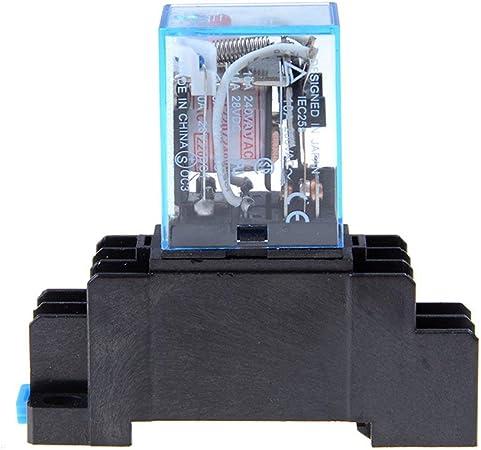 Noir Relais de puissance de bobine AC 220V LY2NJ DPDT 8 broches PTF08A JQX-13F avec commutateur /à module de base /électromagn/étique /électronique micro