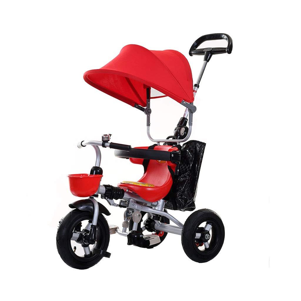 Bebé Bicicleta Niño 3 Ruedas Rueda Bicicleta Plegable 3 en 1 Triciclo para niños Protección de Frenos Doble Cochecitos para niños Rondas de toldo para niños pequeños Trike (niño/niña)