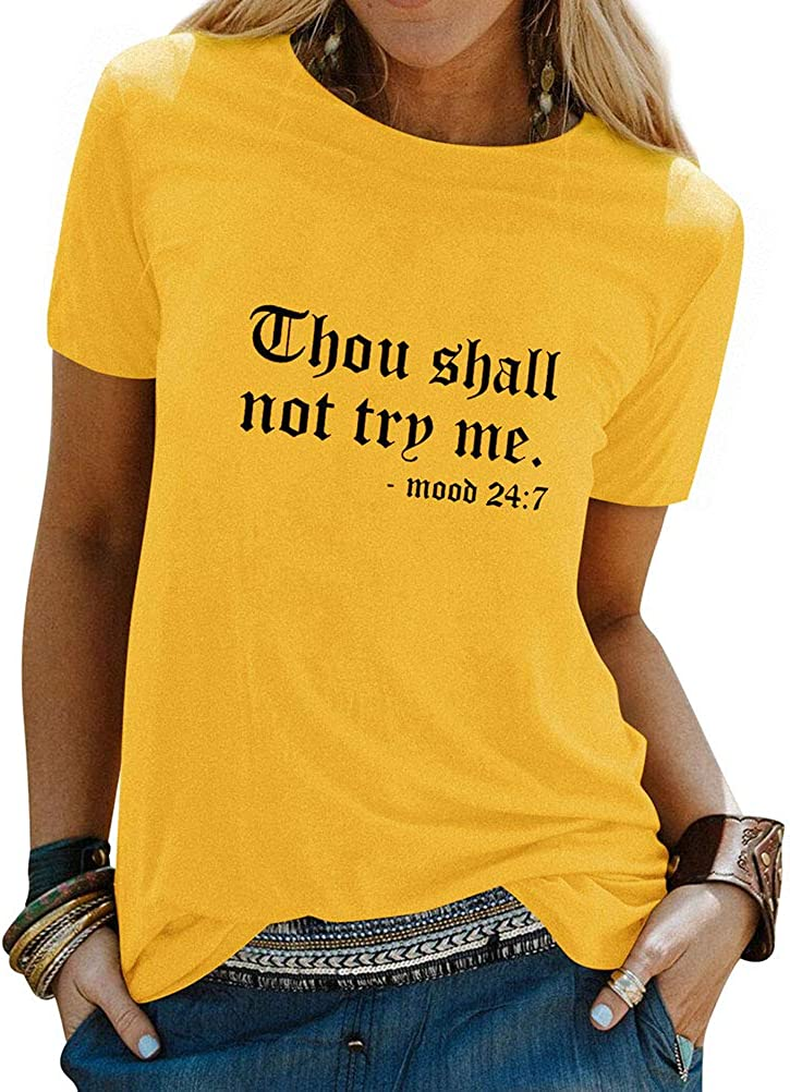 Nlife Thou Shall Not Try Me Letter Print T Shirts for Womens Tops