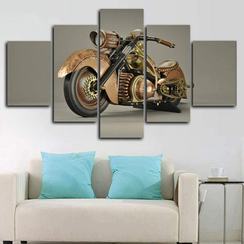 YDME Fall Decor for Home Decorations Hd Printed Canvas Painting Modern Wall Art Decor 5 Pieces Indoor Decorations Steampunk Motorcycle Poster -100X55cm