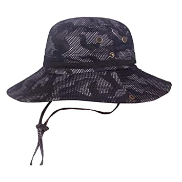 c9206143a9c33f Amazon.com : Unisex Summer Fishing Cap Camouflage Fisherman Hat Outdoor Mountaineering  Hat Visor Hat Wide Brim Bucket Hat By Lmtime (Navy) : Beauty
