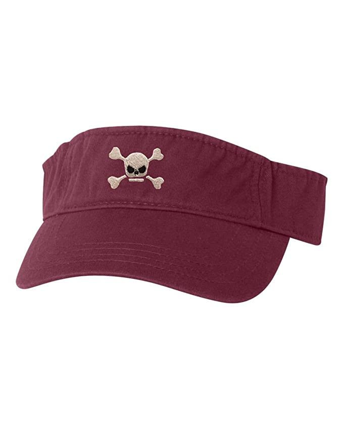 f506292a444d3 Amazon.com  Go All Out Adjustable Baby Blue Adult Pirate Jolly Roger  Embroidered Visor Dad Hat  Clothing