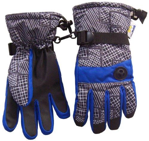 N'ice Caps Boys Thinsulate and Waterproof Geo Lines Print Ski Glove (4-5yrs, royal/grey)