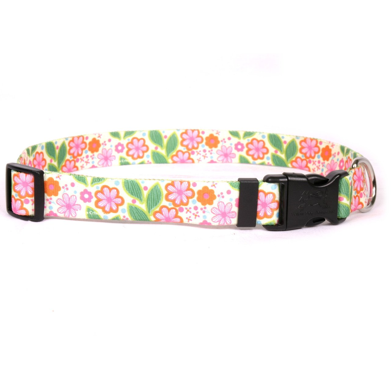 Yellow Dog Design Flower Patch Dog Collar 3/8 Wide And Fits Neck 4 To 9''