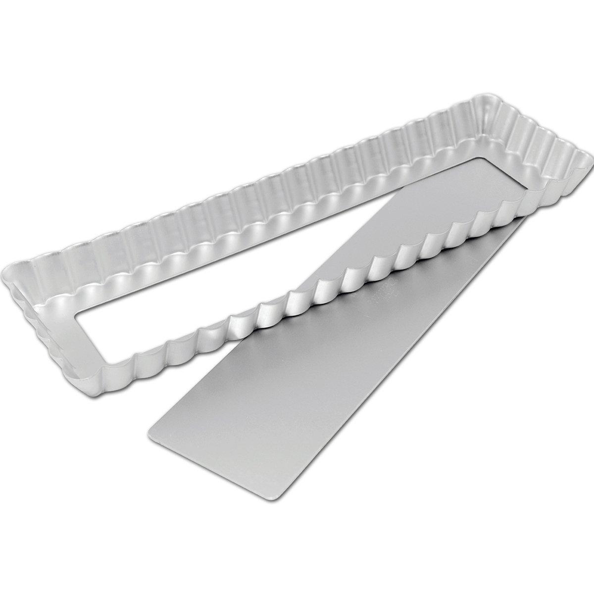 Fat Daddio's Anodized Aluminum Square/Rectangle Tarts, 13.75 Inches by 4.25 Inches by 1 Inch by Fat Daddio's