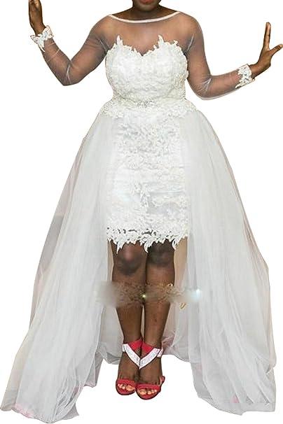 Dreamdress Women\'s Hi-Lo Wedding Dresses Plus Size Lace ...