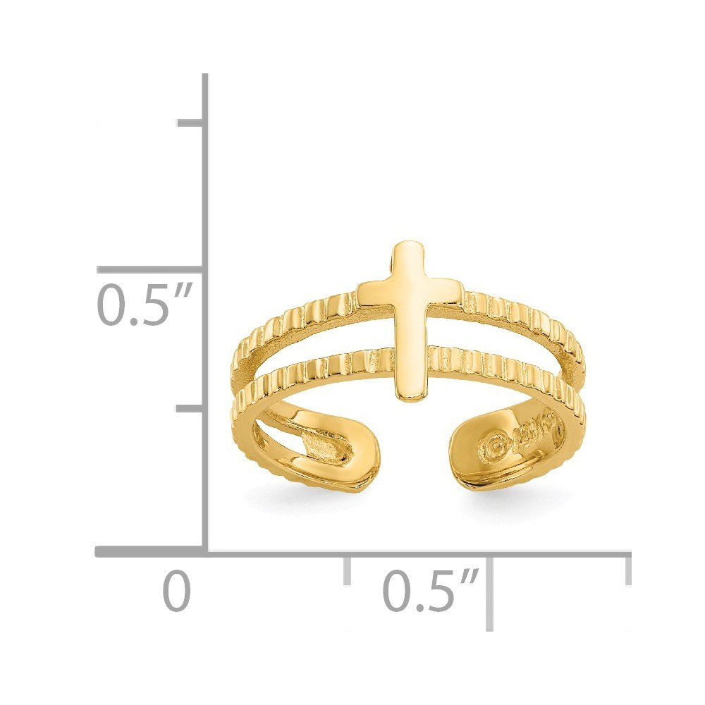 14k Yellow Gold Cross Religious Adjustable Cute Toe Ring Set Fine Jewelry Gifts For Women For Her